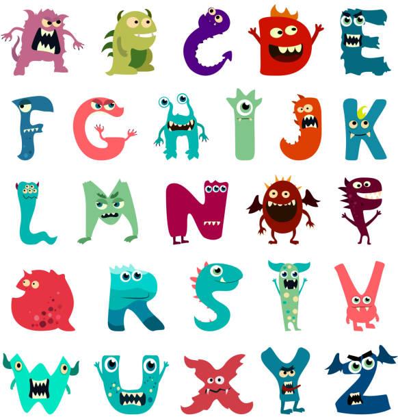 Cartoon flache Monster Alphabet groß stellen Icons. Bunte Monster Kinder Spielzeug niedlichen Monster Zunge. Vektor – Vektorgrafik