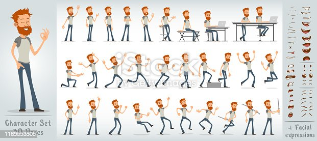 Cartoon flat cute funny redhead office boy character in t-shirt with beard. 30 different poses and face expressions. Isolated on white background. Big vector icon set.