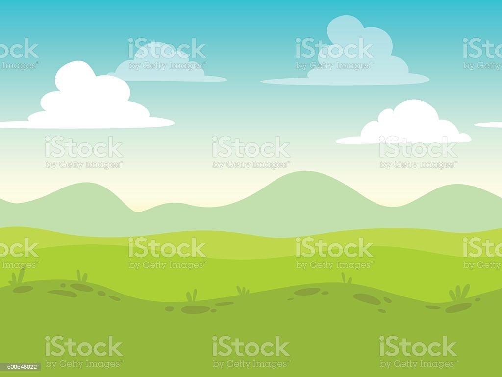 Comic flache nahtlose Landschaft – Vektorgrafik