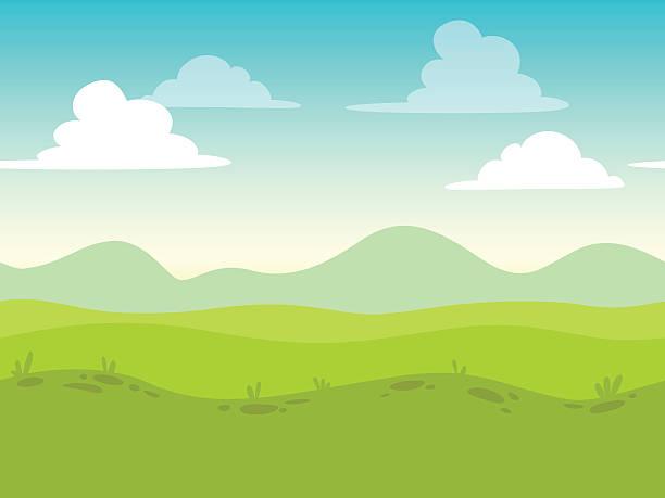ilustraciones, imágenes clip art, dibujos animados e iconos de stock de sin fisuras paisaje de historieta con pantalla plana - paisajes de dibujos animados