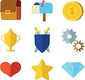 Cartoon flat set icons for game user interface