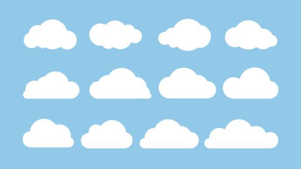 卡通扁平的白色雲層在藍色背景上被隔離。抽象元素概念。向量插圖 - clouds 幅插畫檔、美工圖案、卡通及圖標