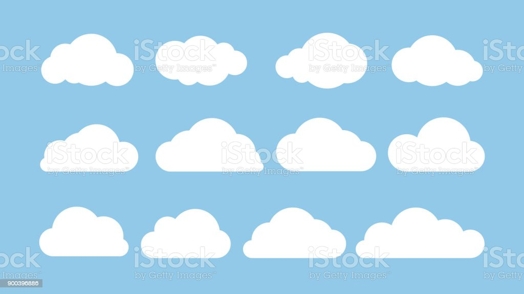 Cartoon flat set of white clouds isolated on blue background. Abstract element concept. Vector illustration vector art illustration