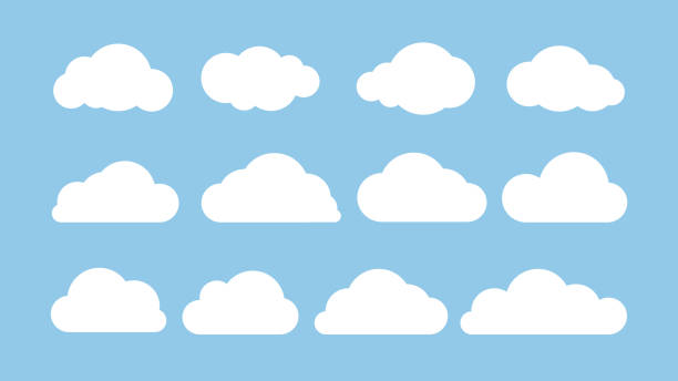 cartoon flat set of white clouds isolated on blue background. abstract element concept. vector illustration - chmura stock illustrations