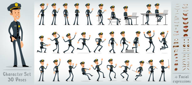 Cartoon flat sheriff boy character big vector set Cartoon flat cute funny sheriff boy character in black uniform and cap with golden star badge. 30 different poses and face expressions. Isolated on white background. Big vector icon set. police uniform stock illustrations