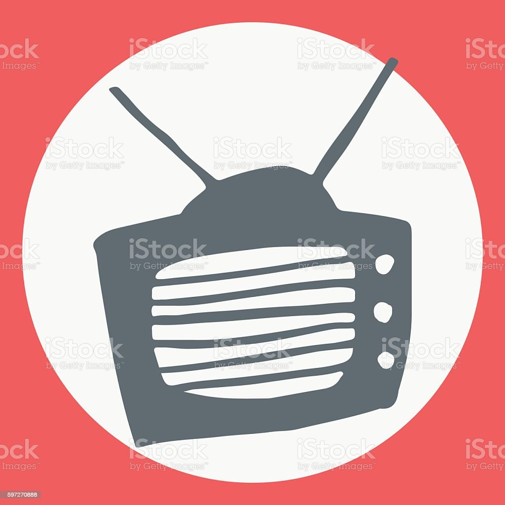 Cartoon flat simple tv icon. Lizenzfreies cartoon flat simple tv icon stock vektor art und mehr bilder von bildhintergrund