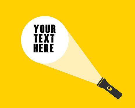 Cartoon flat style led flashlight torch icon shape. Search pocket lamp symbol logo. Vector illustration image. Isolated on yellow background.