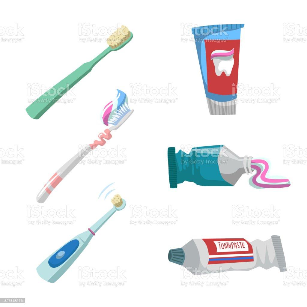 Dibujos animados de estilo plano diente cuidado los iconos conjunto. Tubos  con pasta de dientes eb7d71f47a5e