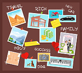 istock Cartoon flat visionary examples of financial business success, travel achievements, happy family wedding, motivation for body training. Vision board, collage with dreams and goals vector illustration. 1268498687