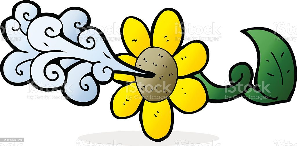 cartoon flower squirting water vector art illustration