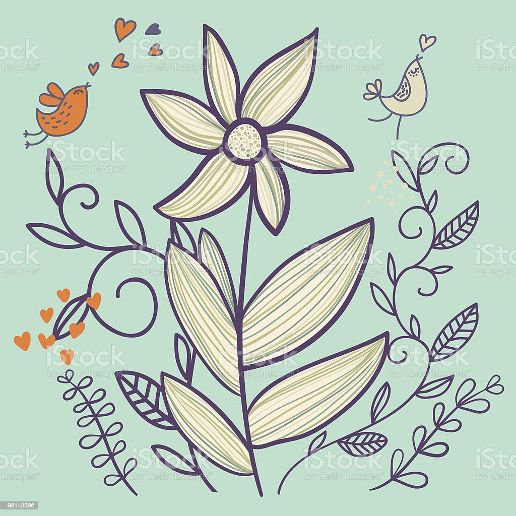 Cartoon flower with birds royalty-free cartoon flower with birds stock vector art & more images of bird