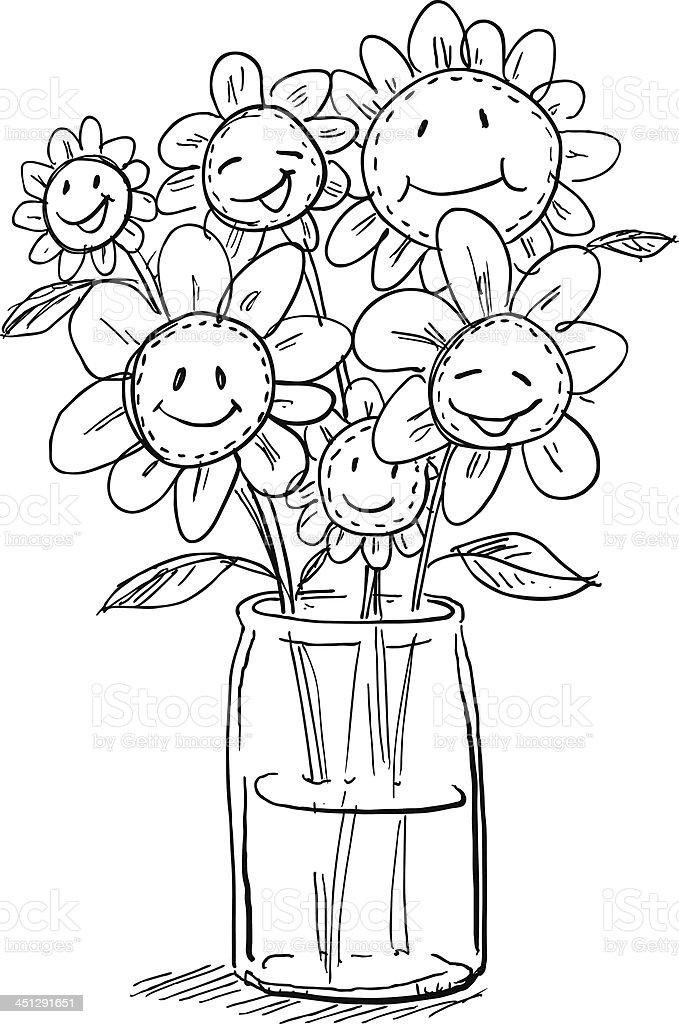 Cartoon flowers in vase royalty-free stock vector art