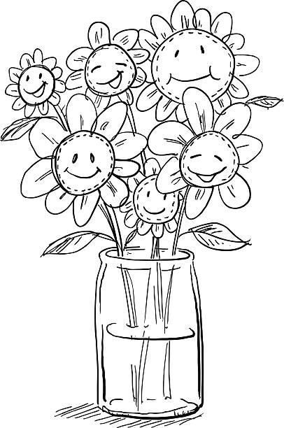 Royalty Free Drawing Of The Daisies In A Vase Clip Art Vector