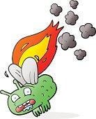 cartoon fly crashing and burning