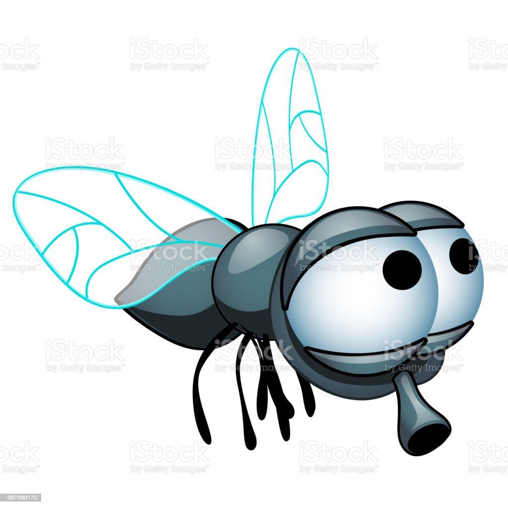 ilustração de desenhos animados mosca com olhos grandes isolado em