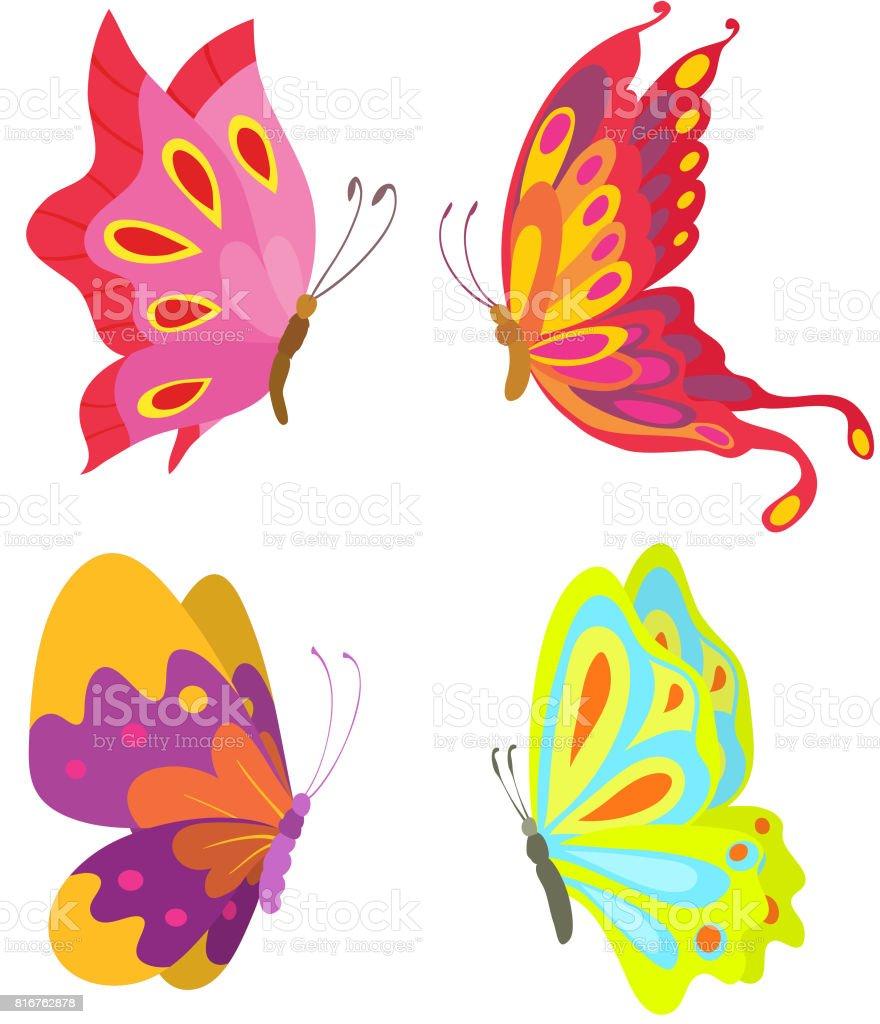 Ilustración De Dibujos Animados De Vuelo Conjunto De Mariposas