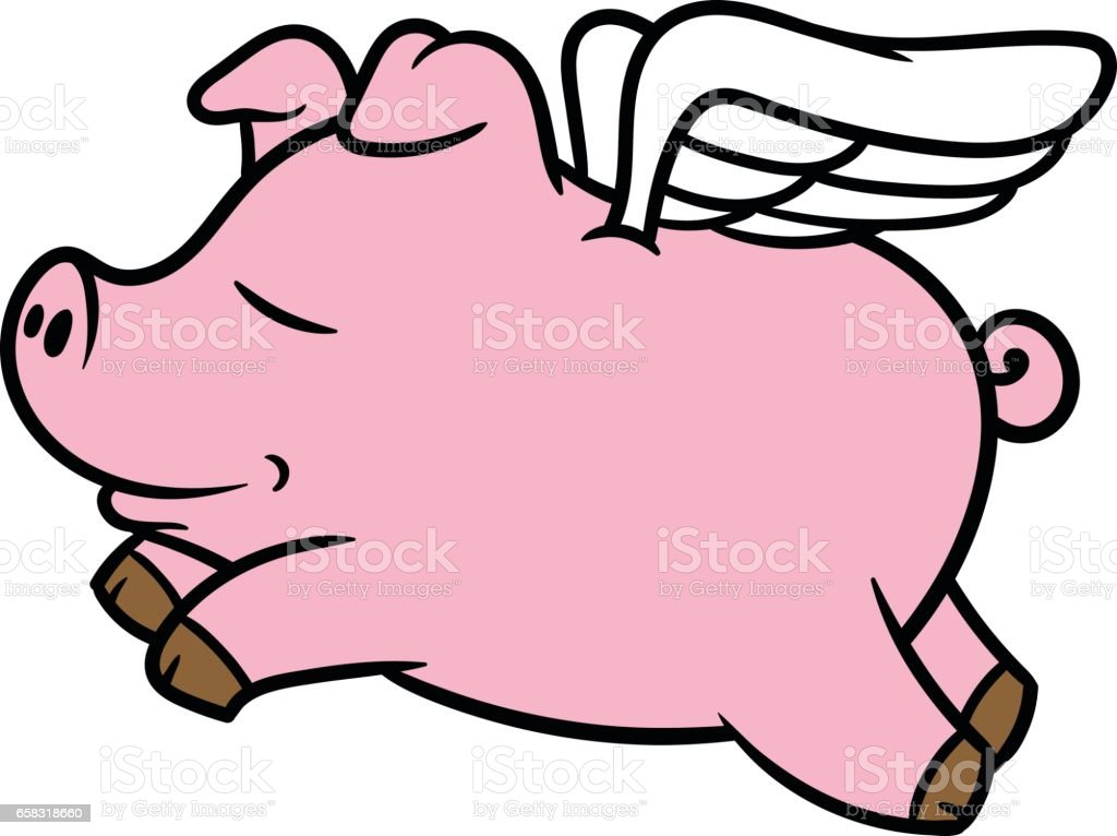 royalty free cartoon of flying pig clip art vector images rh istockphoto com  flying pig clipart