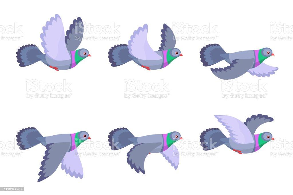 Ilustración de Dibujos Animados Vuelo Paloma Animación Sprite Hoja ...