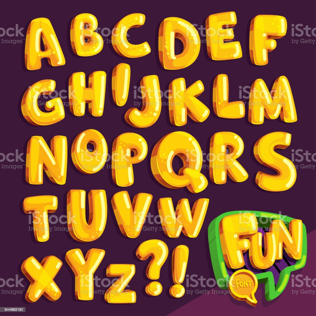 cartoon font 'fun' vector art illustration
