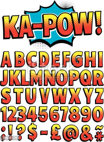 Cartoon font for spelling out all your favorite exclamations! Entire upper-case alphabet with punctuation marks including '@', Dollar and Pound signs in retro red and yellow halftone style. With a comic book style explosion to use behind your text.