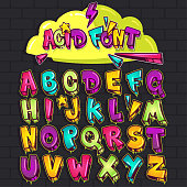 Graffiti acid font. Vector set illustration