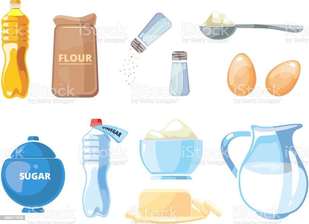 Cartoon food baking and cooking vector ingredients