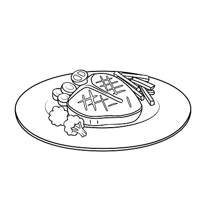 Cartoon food steak picture for kids, this is a vector illustration for preschool and home training for parents and teachers.