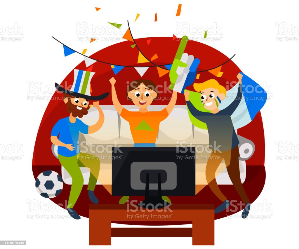 Miraculous Cartoon Football Party At Home In Cozy Atmosphere Stock Download Free Architecture Designs Fluibritishbridgeorg