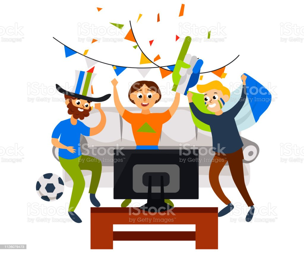Cool Cartoon Football Party At Home In Cozy Atmosphere Stock Download Free Architecture Designs Fluibritishbridgeorg