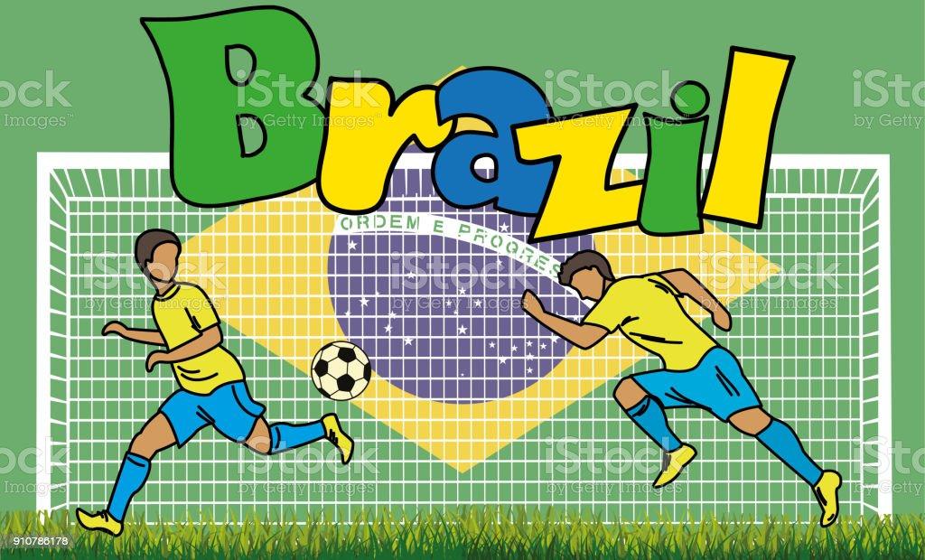 Retrato de futebol dos desenhos animados sobre o fundo da bandeira brasileira - ilustração de arte em vetor