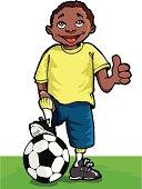 Cartoon football player giving a thumbs up