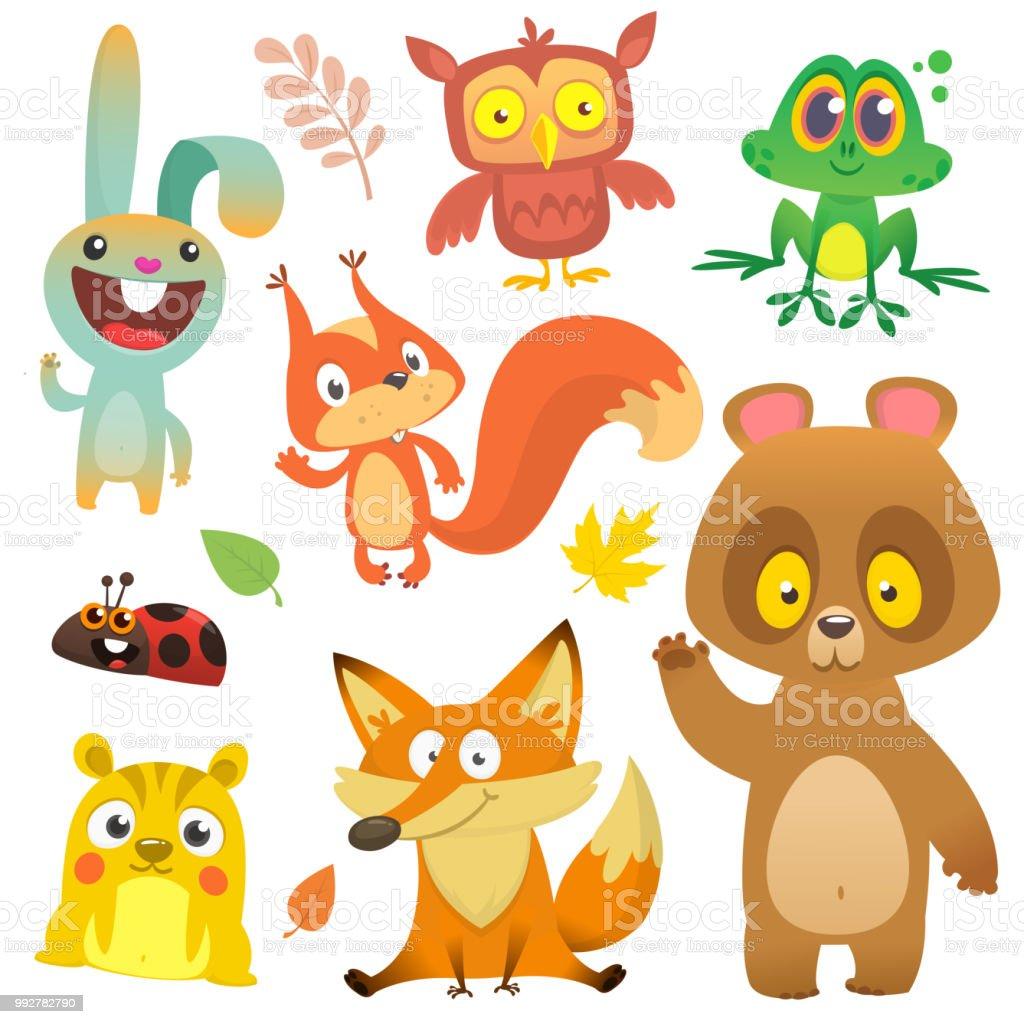 çizgi Film Orman Hayvanları Karakter Kümesi Vektör çizim çizgi Film