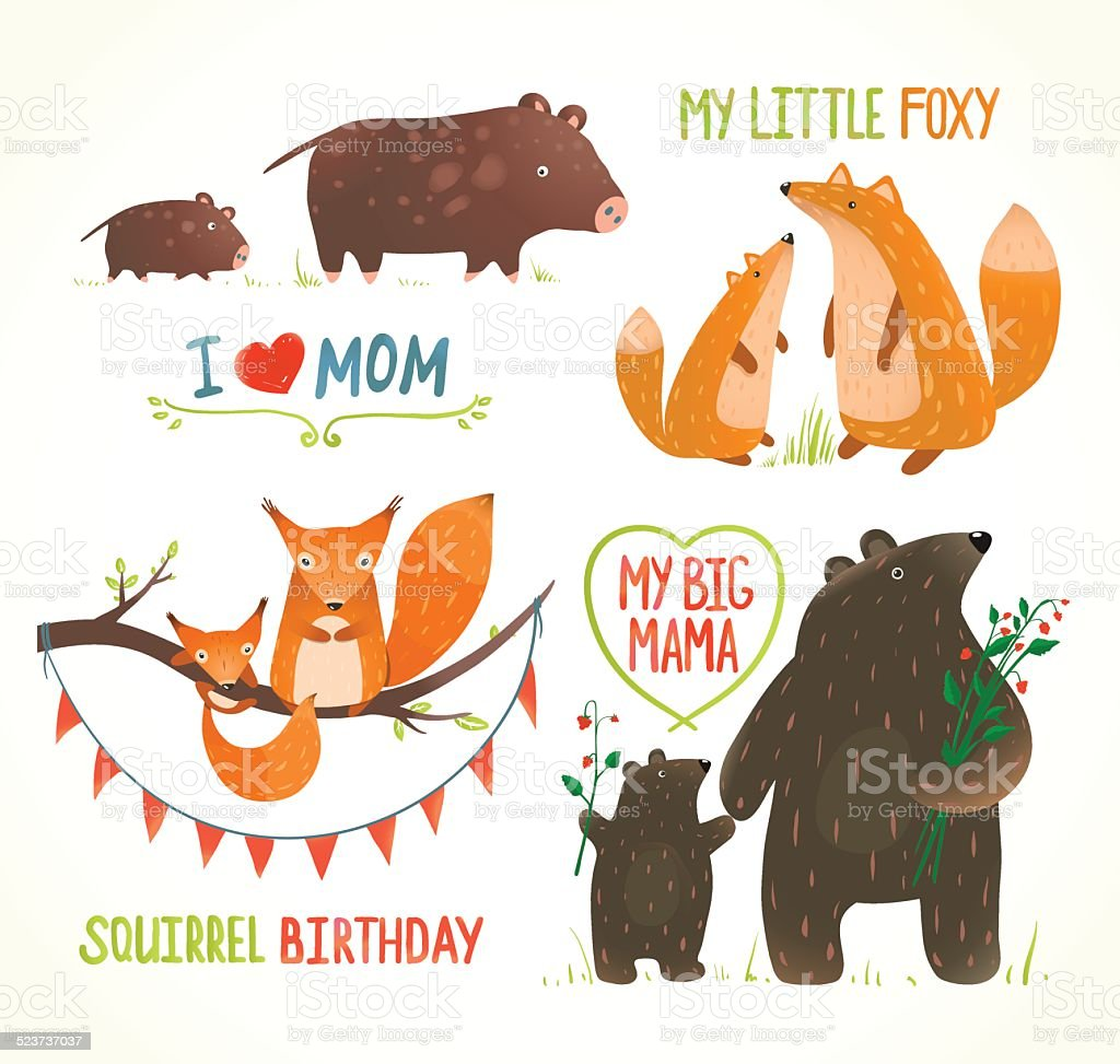 Cartoon Forest Animals Parent with Baby Birthday Party Cards vector art illustration