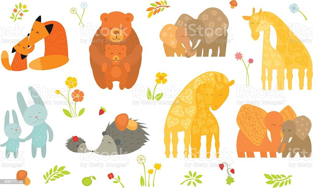 Cartoon Forest Animals Parent with Baby. vector art illustration