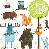 Cartoon Forest Animals Set