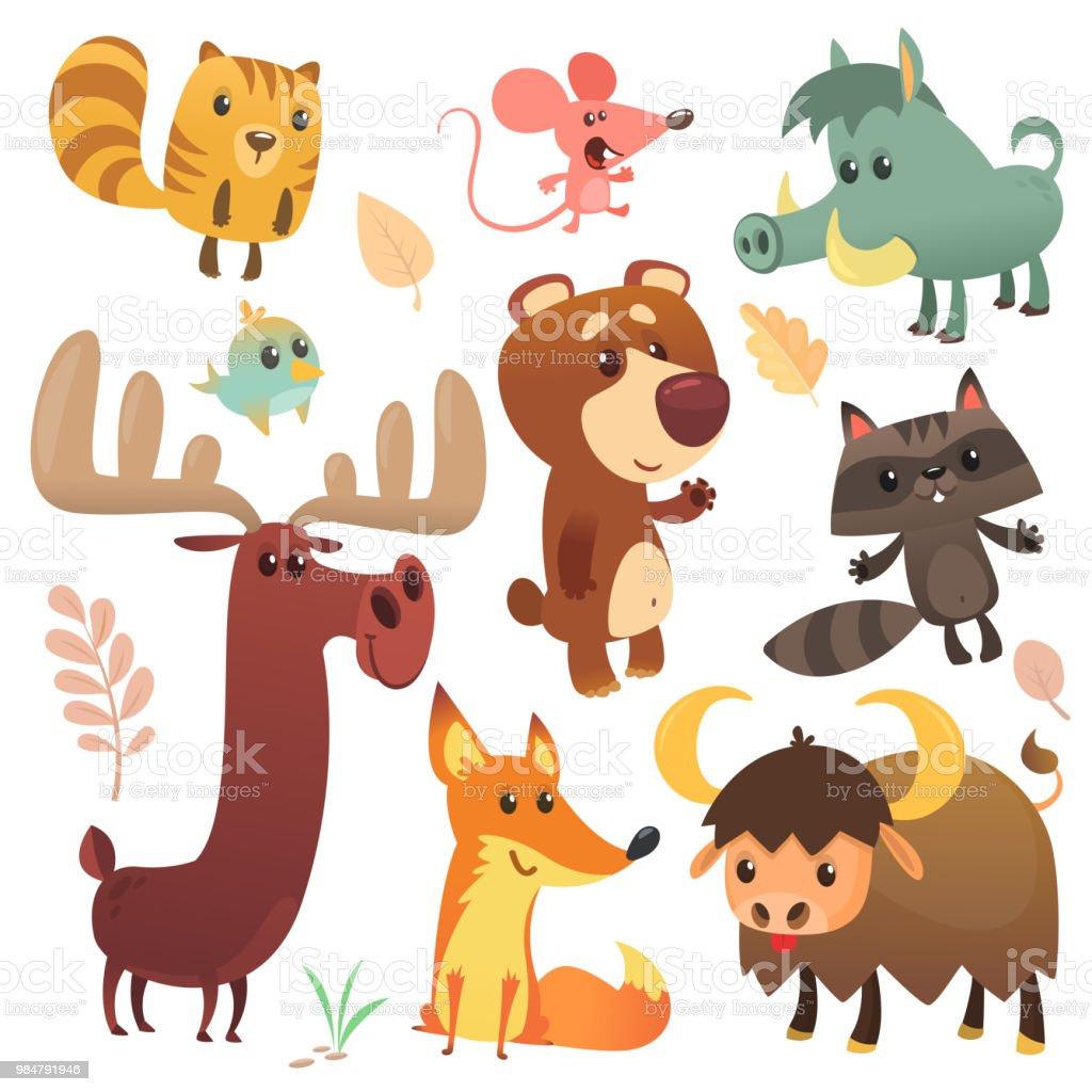 森の動物セットを漫画しますベクター イラストしますリスマウスタヌキ
