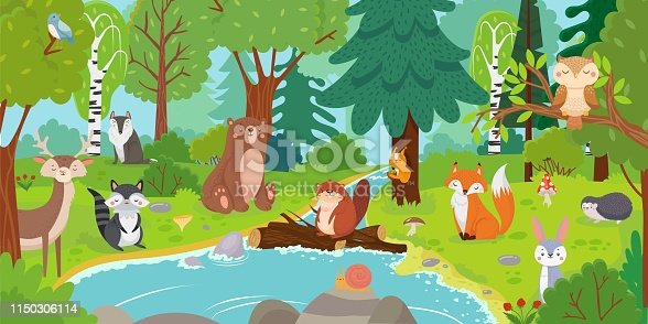 istock Cartoon forest animals. Wild bear, funny squirrel and cute birds on forests trees kids vector background illustration 1150306114