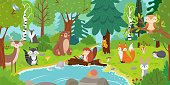 Cartoon forest animals. Wild bear, funny squirrel and cute birds on forests trees kids. Fox, hedgehog wolf and deer woodland characters by the river vector background illustration