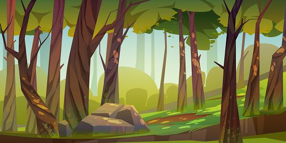 Cartoon forest background, nature park landscape