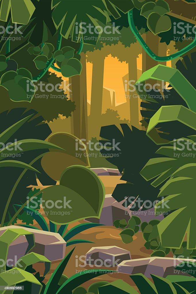 Desenho de vetor de fundo de floresta na selva - ilustração de arte em vetor