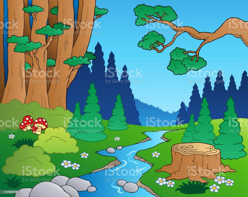 Cartoon forest landscape 1 royalty-free cartoon forest landscape 1 stock vector art & more images of art