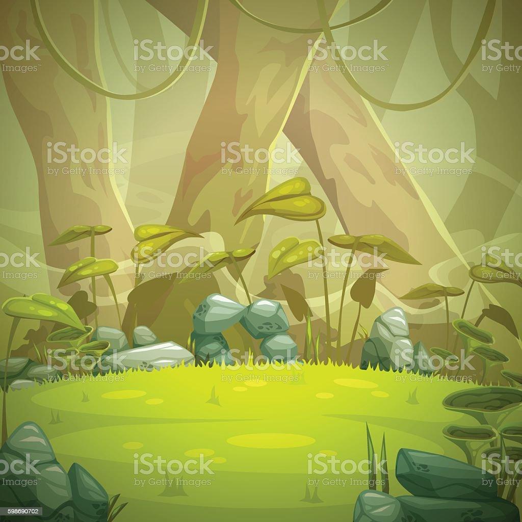 Cartoon forest landscape vector art illustration