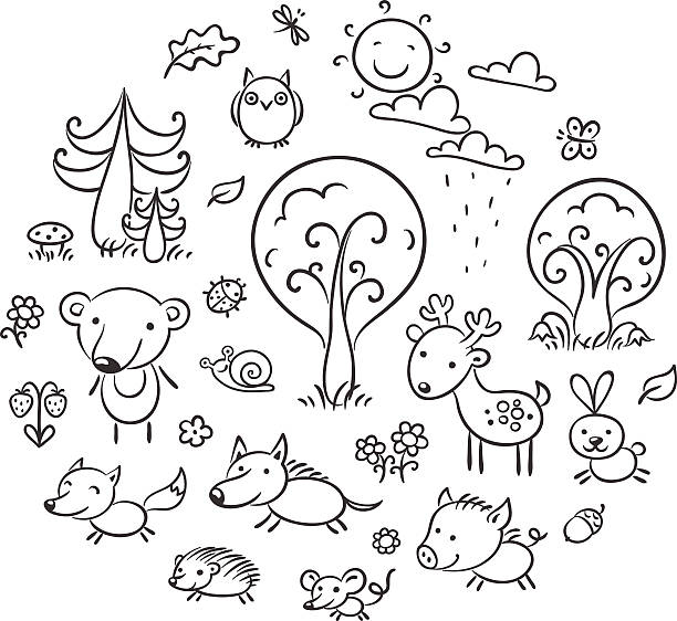 cartoon forest set, black and white - black and white owl stock illustrations, clip art, cartoons, & icons