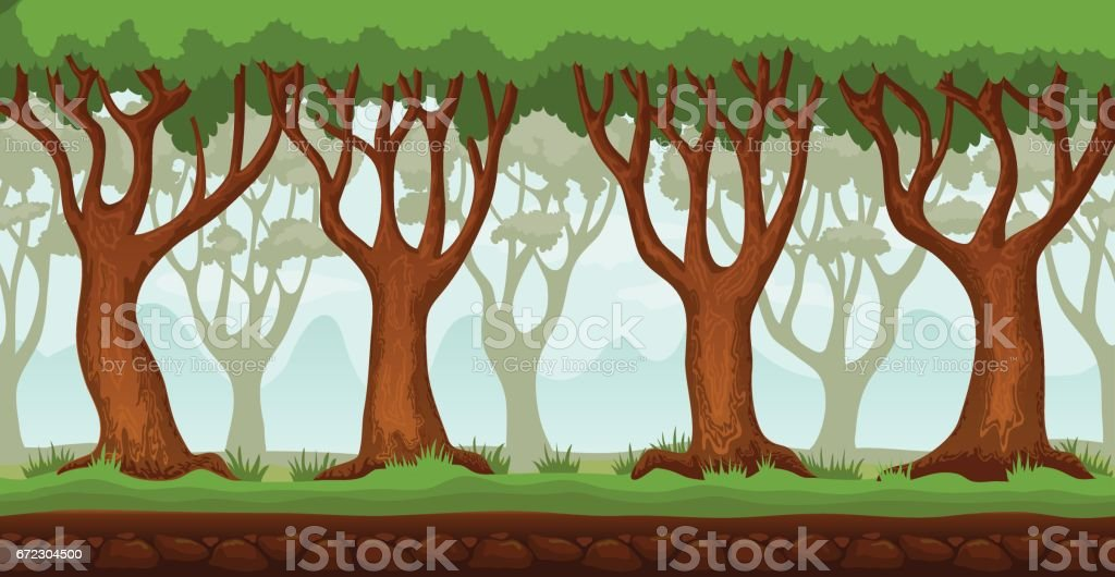 Cartoon Forest Video Game Background 2 Stock Illustration - Download Image  Now