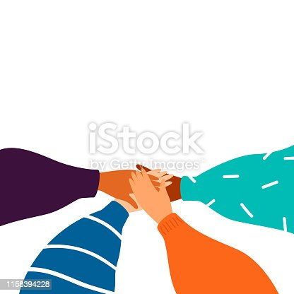 Cartoon Four human hands support each other. Concept of teamwork with copy space. Diverse female hands united for social freedom and peace, women power. Vector