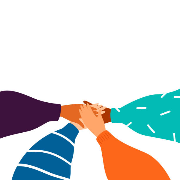 illustrazioni stock, clip art, cartoni animati e icone di tendenza di cartoon four human hands support each other - azienda partner