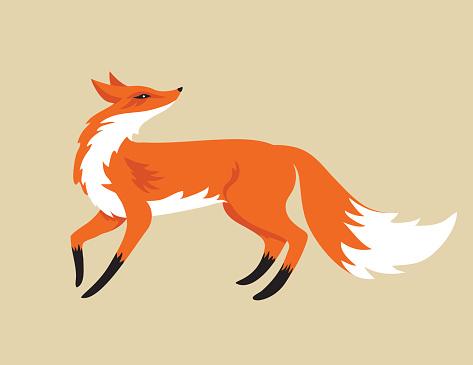 Cartoon Fox Isolated On Beige Background