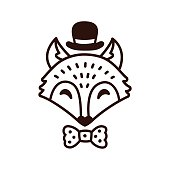 Cartoon fox with hat and bowtie