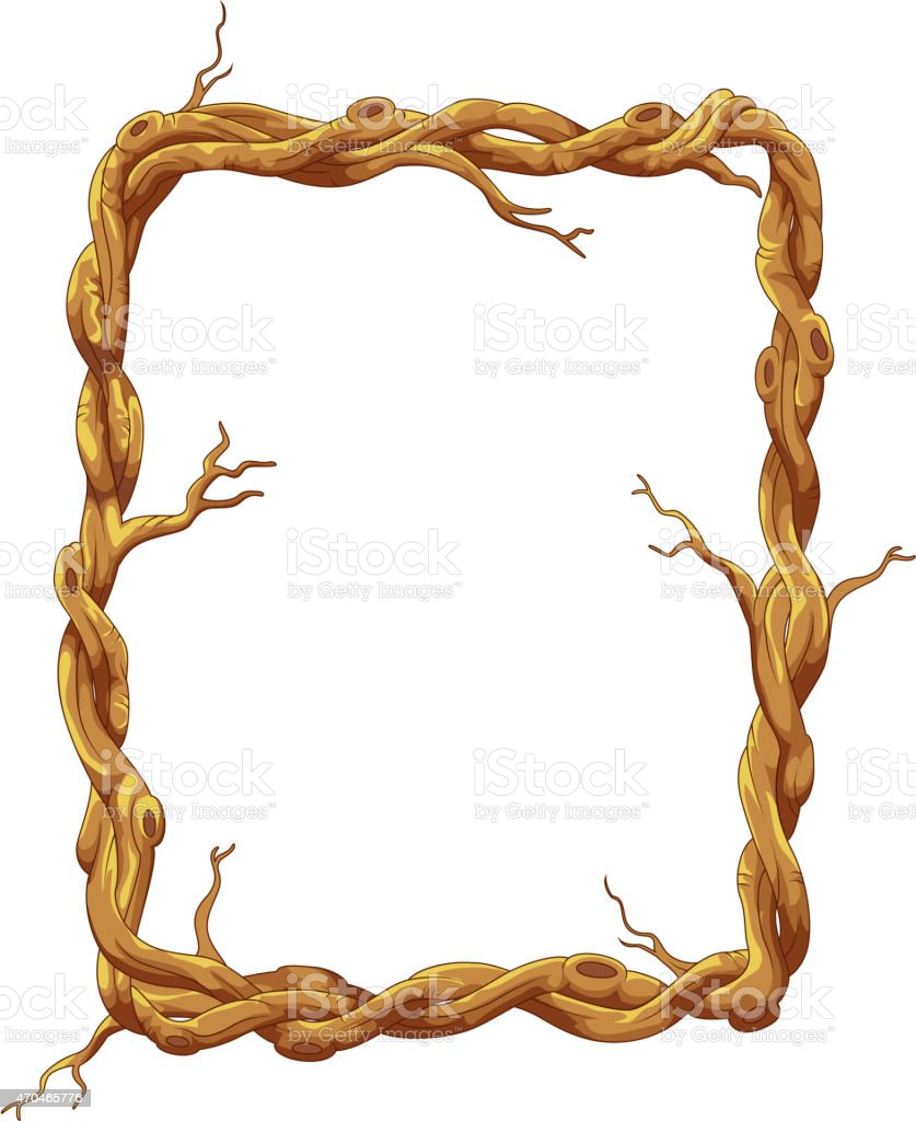 cartoon frame made of tree trunk and branches stock vector art