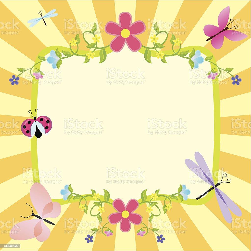 カットイラストフレームに花と蝶 - イラストレーションのベクターアート